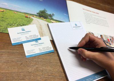 09/17: Neue Visitenkarten, Blöcke und Kullis für unseren Kunden Mülders Gartenbau